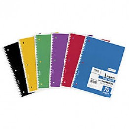 Mead Spiral Bound Notebook, Wide Rule 8 1/2 x 11, 70 sheets/Pad, Assorted Colors (Color Choice Not Available)